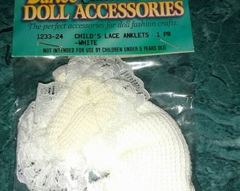 """BABY DOLL  socks child's lace anklets white fits 18"""" dolls  1 pr   unused"""