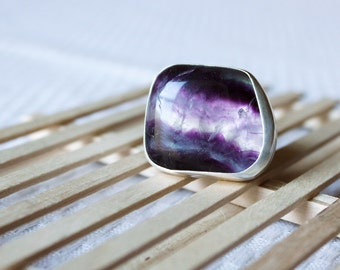 Bedrock Ring // Banded Amethyst Silver Statement Ring