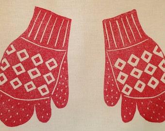 Block Printed Red Trigger Mitts Tea Towel