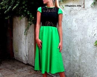 Green linen midi dress,  below knee dress, green dress, cap sleeve black dress, office wear, linen dress, womens dresses