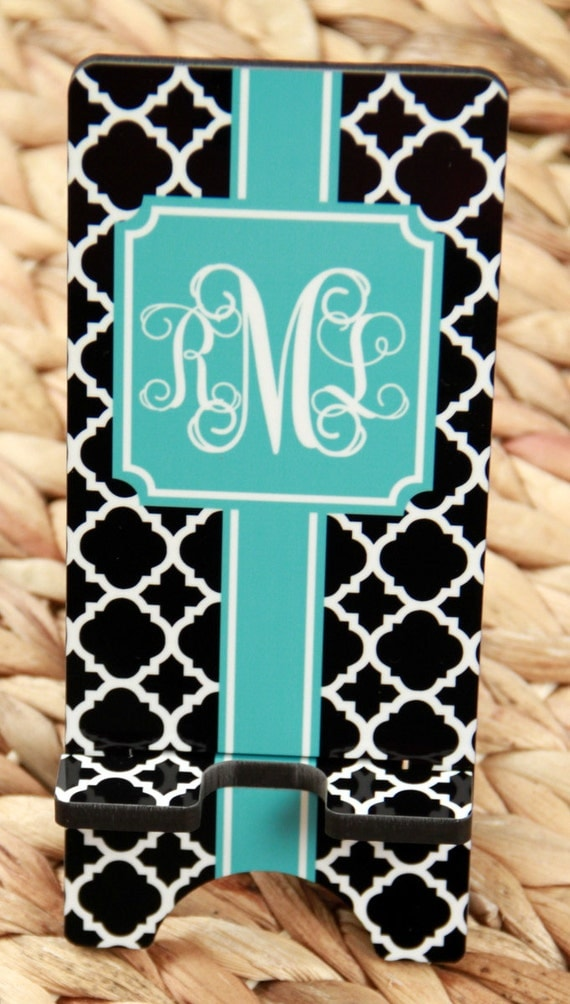 Monogrammed Phone Dock Cell Phone Stand Monogrammed Gift Personalized Teacher Gift Desk Accessories Charger Stand Office Decor