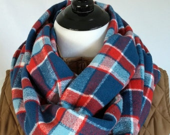 Red White and Blue Plaid Flannel Infinity Scarf. Amazingly Soft Vibrant Scarf