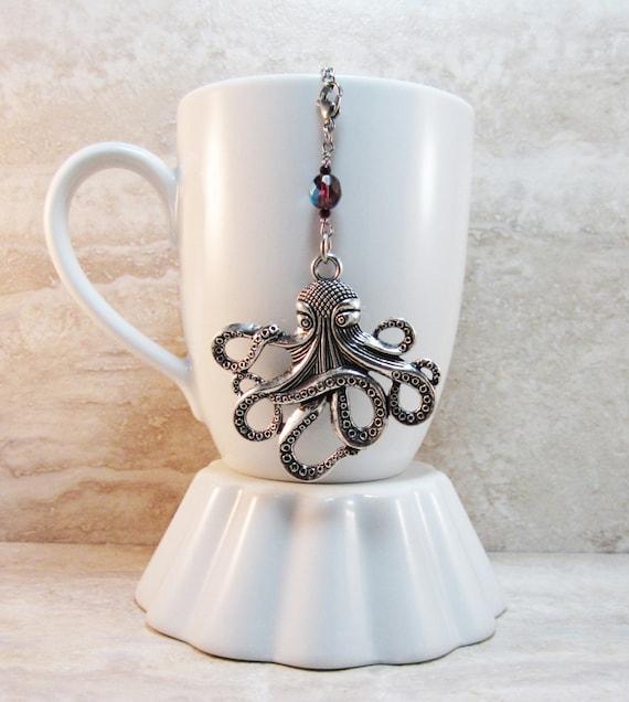Octopus silver finish tea infuser charm amethyst ab czech - Octopus tea infuser ...