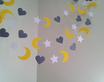 I Love You To The Moon and Back yellow and grey Moon and Stars Garland/ Nursery Decoration/ Baby Shower Decoration/ Custom Color 10ft