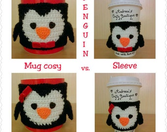 Crochet Penguin Coffee Cup Sleeve Travel Mug Sleeve OR Penguin Mug Cozy, Reusable Coffee Sleeve, Reusable Mug Cozy