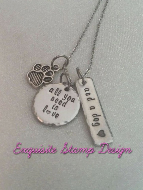 All You Need Is Love And A Dog - Dog Necklace - Furbaby Necklace - Pet Lover Necklace - Dog Lover Jewelry - Handmade - Paw Print Charm