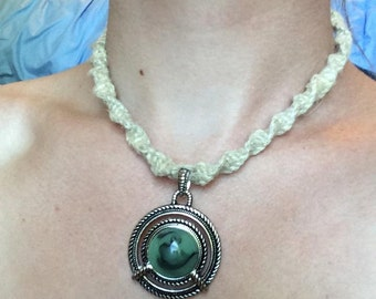 Green Pendant on Natural Hemp Necklace