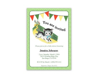 Digital DIY Vintage Mother Goose Invitation / Baby shower, birthday party / neutral colors / editable PDF/ customize it yourself / kitten
