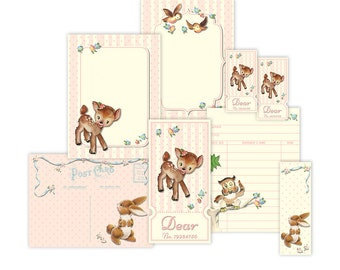 Shabby woodland baby animal tickets and tags / printable collage sheet / digital scrapbook embellishments, cards / instant download / 3 x 4
