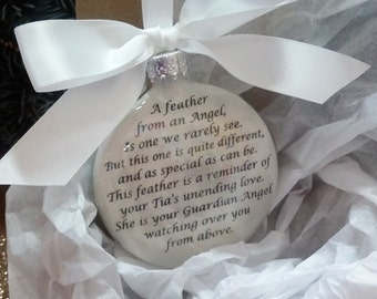 """Memorial Ornament - TIA - w/ Angel Wing Charm """"A Feather From a Guardian Angel"""" Sympathy Gift - Personalized w/ Name - Custom - Christmas"""