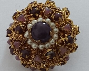 Vintage purple stone and pearl brooch