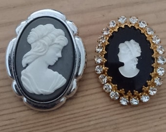 Two vintage cameo brooches