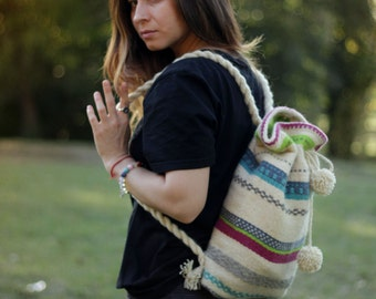 Color Hand-woven Backpack - Natural Hand-woven Backpack - Wool Backpack - Handmade Backpack - Women Backpack - Colorful Backpack - Big Bag