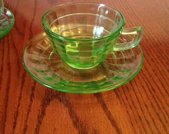 Free Shipping 2 Green Depression Glass Art Deco Cup With Saucer Block Optic Pattern Anchor Hocking Circa 1929-1933