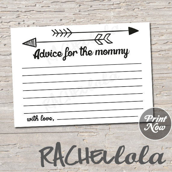 arrow advice for the mommy baby shower advice cards game gender