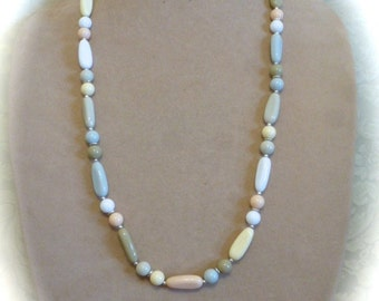 Vintage 1970's Necklace with Neutral Palette of Plastic Beads