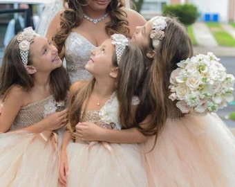 Champagne and lace Flower girl tutu dress