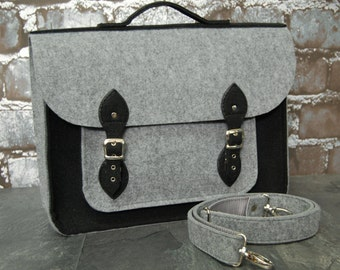 MacBook Pro 15 inch bag , satchel, Laptop bag, case, felt messenger bag with felt straps and belt shoulder