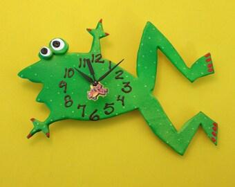 Clock, Frog Clock, Kids clock, Wall Clock,Nursery clock, Wall Clock, Hand painted clock