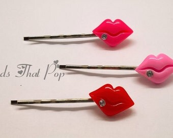 VALENTINES GIFT Red & Pink Lips Bobby Pins, Set of 3, Jeweled Lips Bobby Pins, Hair Clips, Handmade Hair Accessories, Great Value!