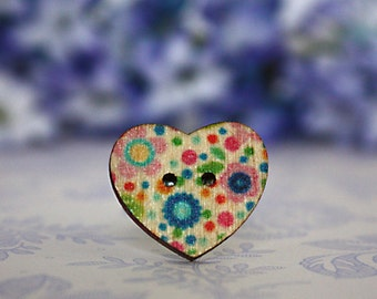 Pink and blue wooden heart button ring