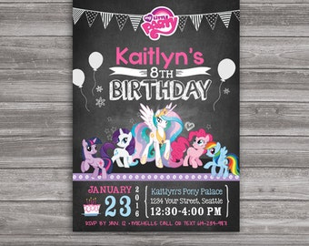 My Little Pony Invitation - INSTANT DOWNLOAD - Printable File - Editable PDF You Personalize & Print at Home with Adobe Reader