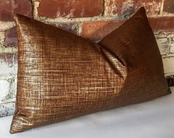 Metallic Linen Pillow Cover in Copper/gold or Platinum/silver 12x18 12x21 16x16 18x18 20x20 16x26 22x22 24x24 26x26 28x28 14x36-345Y