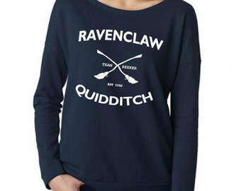 Raven Claw Quidditch Shirt Long Sleeve french terry T Shirt - Size S M L XL