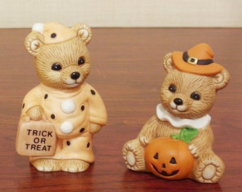 Halloween Bear Pumpkin Home Interiors Homco Figurines Lot