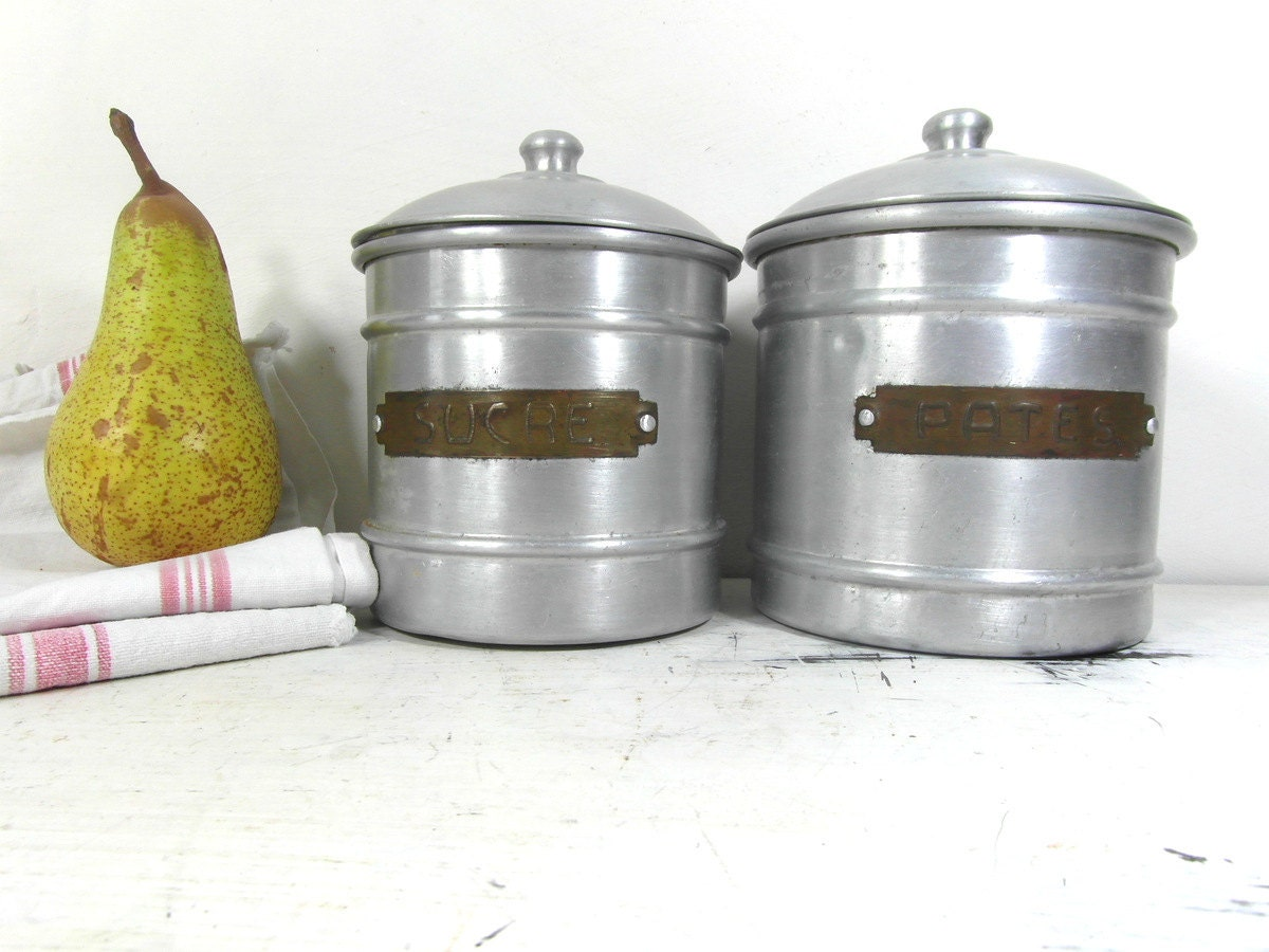 2 aluminum kitchen canisters french vintage french country