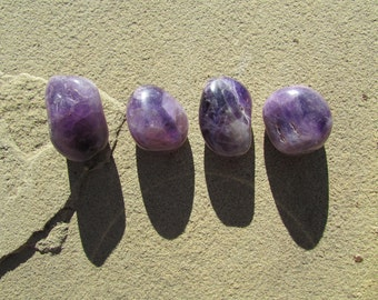 4 Amethyst Large Tumbled Stones - 4 Polished Amethyst - Dark Purple Amethyst Loose Stones - Raw Crystals Healing Stones