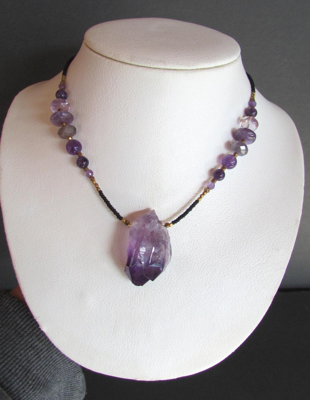 Amethyst Crystal Necklace 21 Inch Raw Amethyst Crystal