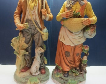 Vintage Ardco Figurines, Old Man and Woman Figurines, Farmer Figurines