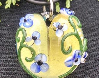 blown glass heart focal pendant , focal bead