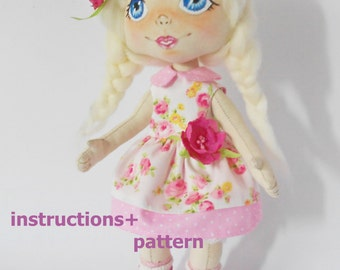 PDF,Digital Download instructions+pattern,Soft Doll PATTERN  Cloth Doll Pattern, Digital Download instructions+pattern. instant download