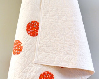 "Baby Girl Quilt - Whimsical - Garden Flowers - White Petals - Circles - Red, White, Crib Quilt - Modern Nursery Quilt - Measures 44"" x  49"""