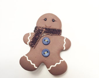 Gingerbread Man Brooch by Raquel at the WRC pin hand sculpted from polymer clay CHRISTMAS pin
