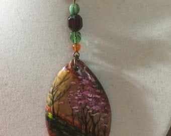 Necklace Painted Jasper Copper Spring Tree Glass Crystal Pink Red Orange Green #577