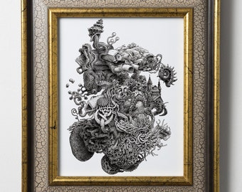 Surreal Art - Bizarre Tide Pool Print - Weird Art - Surrealism - Pen and Ink Drawing - Wall Art Print - Tentacles - Starfish Hermit Crab