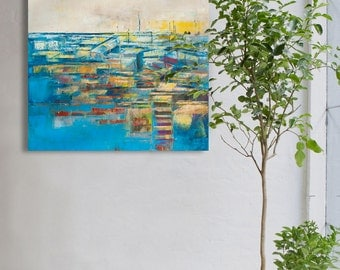 """Abstract painting, red and blue, modern, minimalist large canvas art 31,5/31,5 inches, 80/80cm. Free shipping. """"Blue city""""."""