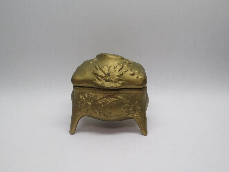 antique metal casket ring box b w tiny 2