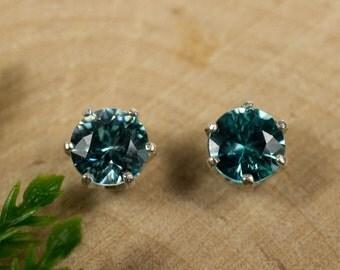 Blue Zircon Sterling Silver Earrings