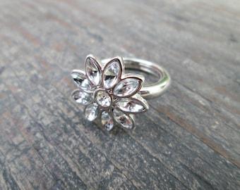 Rhinestone Flower Ring, Size 8 Flower Ring, Clear Rhinestone Ring, Flower Jewelry, Floral Jewellry