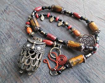 Bohemian Owl Necklace, Boho Owl Necklace, Earthy Necklace, Boho Jewelry, Paper Bead Jewelry, Hippie Gypsy Necklace, Fall Jewelry