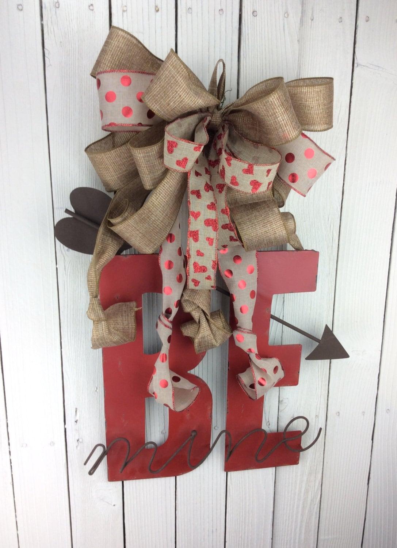 Valentine Burlap Door Hanger Valentine Wreath Be Mine