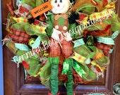 Fall Autumn Scarecrow Deco Mesh Wreath with Pumpkins