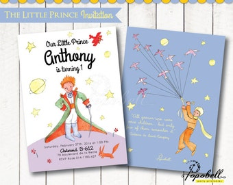 The Little Prince Invitation for The Little Prince birthday. Le Petit Prince Invitation Printable for DIY Le Petit Prince Party. DIGITAL.