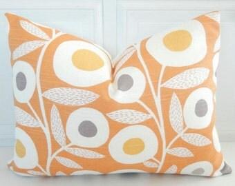 Orange Pillow Cover - Orange Lumbar Pillow - 12 x 16 Floral Pillow - Small Throw Pillow -  Orange Throw Pillow - Yellow Orange Pillow