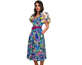 """victor costa rare """"feathered"""" sleeve avant-garde floral dress // 80s designer vintage cotton party dress"""