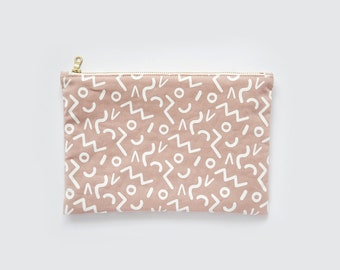 Shapes | Screenprint Clutch With Geometric Pattern In Pink